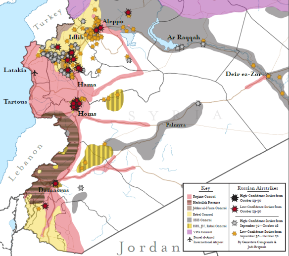 Map of territorial control in Syria. Russian air strikes in October largely targeted rebels fighting the regime in north west Syria, this includes Jabhat al-Nusra. Credit: Institute for the Study of War (ISW)