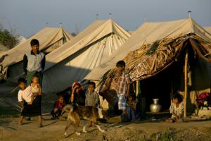 Rohingya family at an internal displacement camp.