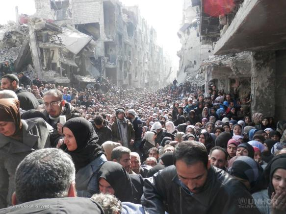 Syria. Aid distribution in Yarmouk camp